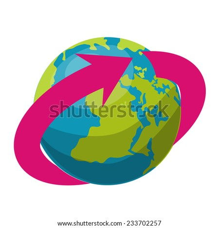 Globe and arrow. Vector illustration.