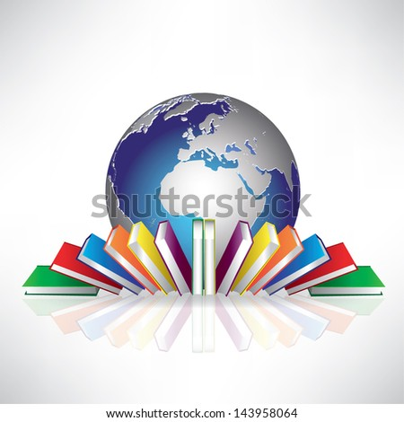 globe and books. concept of education in the world. vector illustration - stock vector
