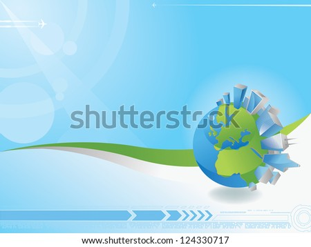 Globe and cities cape abstract background