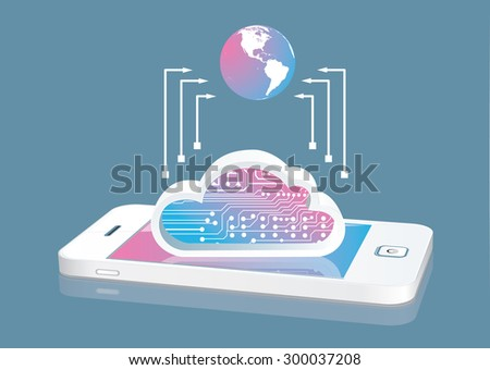 Globe and cloud concept with  modern smartphone - stock vector