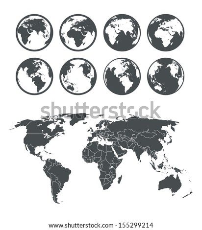 Globe and Earth map scheme collection. Selectable template - stock vector