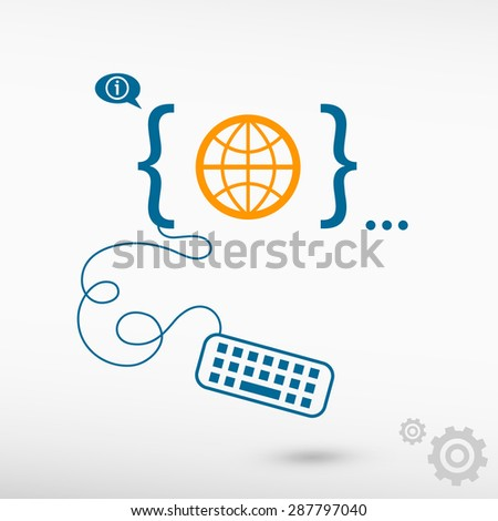 Globe and flat design elements. Design concept icons for application development, web design, creative process, social media, seo, web page coding and programming. - stock vector