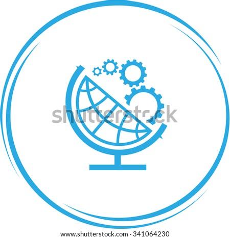 globe and gears. Internet button. Vector icon. - stock vector