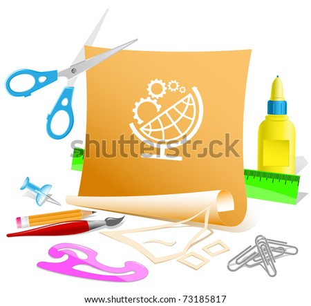 Globe and gears. Vector paper template. - stock vector