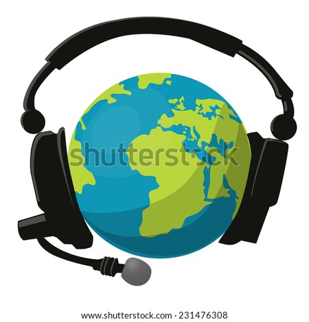 Globe and headphones, vector illustration.
