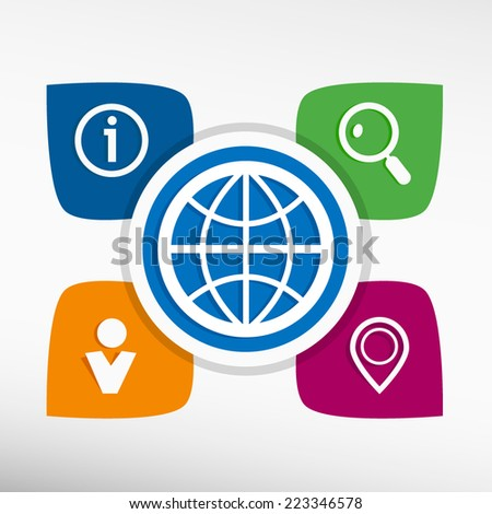 Globe and icons set vector illustration. Modern Flat style  - stock vector