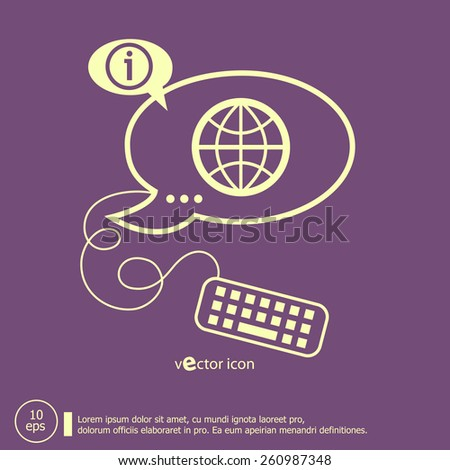 Globe and keyboard design elements. Line icons for application development, web page coding and programming, creative process - stock vector
