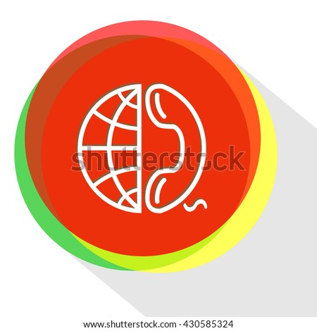 globe and phone. Internet template. Vector icon. - stock vector