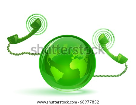 Globe and phone receivers. VoIP.  Global communication concept. - stock vector