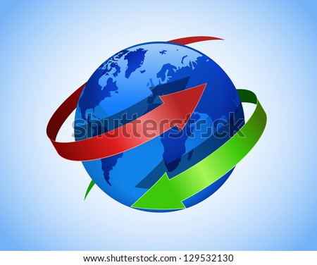Globe and red and green arrows are shown in the image. - stock vector