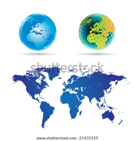 Globe and World Map (Full Detail) -Vector Art-