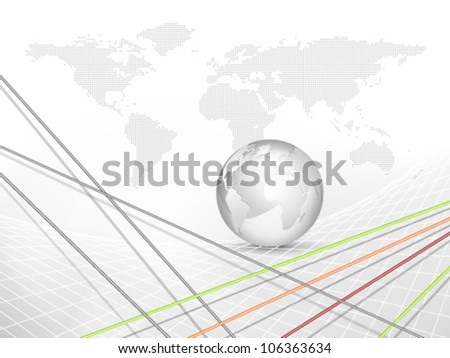 Globe and world map - global business technology background