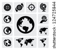 Globe and world map icons on gray - stock photo