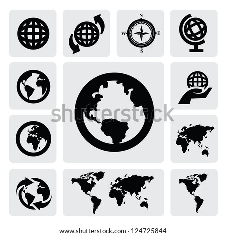 Globe and world map icons on gray - stock vector
