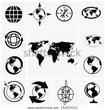 Globe world map icons on gray stock vector 142453513 shutterstock globe and world map icons on gray gumiabroncs Images