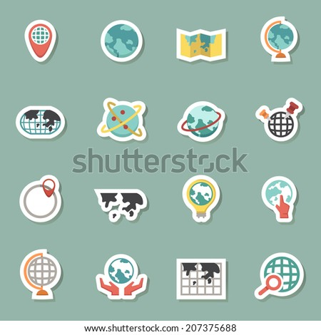 Globe and world map icons vector eps10 - stock vector