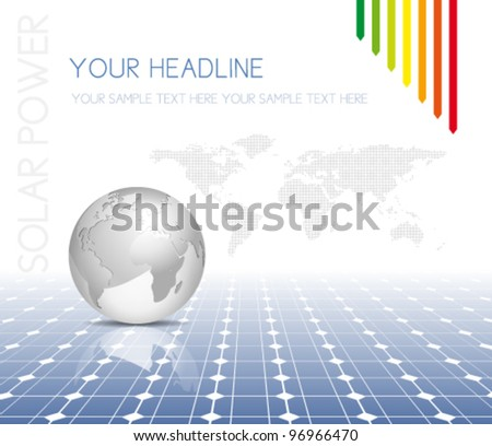 Globe and world map with photovoltaic solar panel - electricity background - stock vector