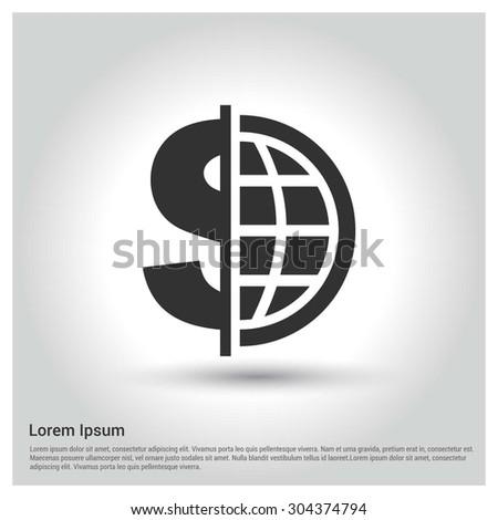 Globe around dollar concept icon. Circle concept Shadow web buttons. vector illustration. Flat design style - stock vector