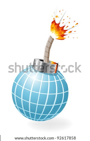 Globe as ignited bomb isolated on the white background. - stock vector