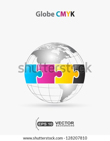 globe CMYK puzzle colors  - stock vector