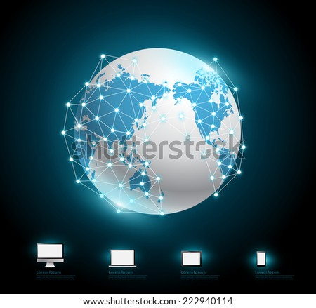 Globe connections network design, vector illustration modern template  - stock vector