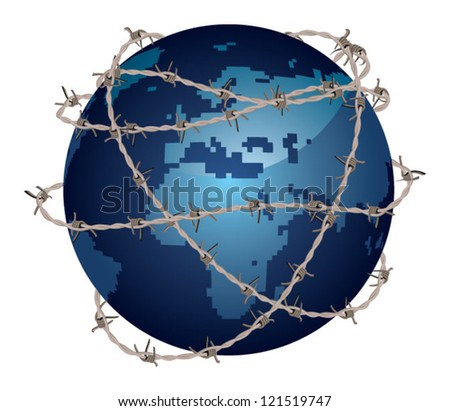 globe covered with barbed wire, vector