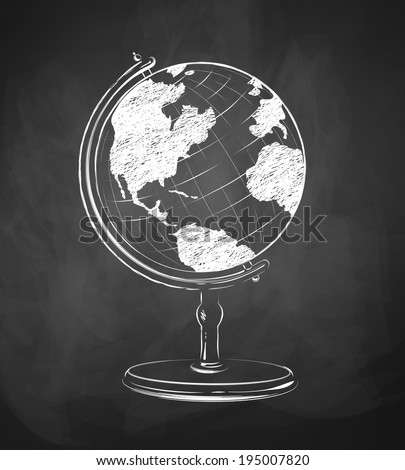Globe drawn on chalkboard. Vector illustration. isolated.  - stock vector