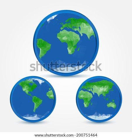 Globe earth abstract icons in polygonal style - vector symbol