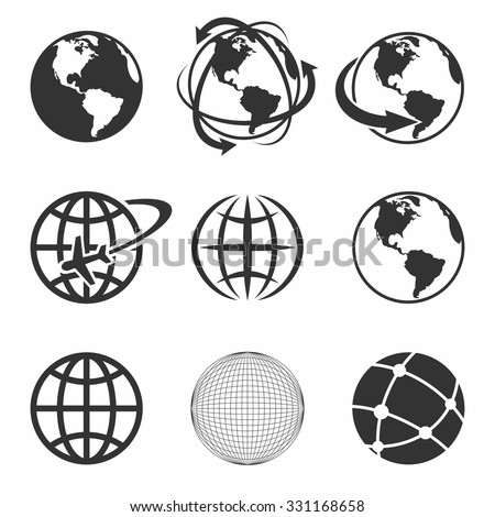 Globe Earth black Icons Set. Vector Illustration. - stock vector