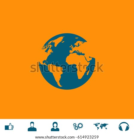 Globe Earth Blue Symbol Icon On Stock Photo Photo Vector