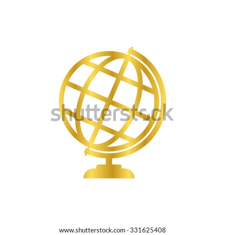 Globe earth - gold vector icon - stock vector