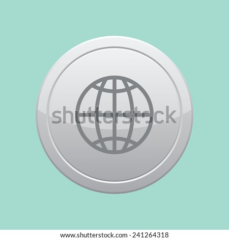 Globe earth icon. Gray round button. - stock vector