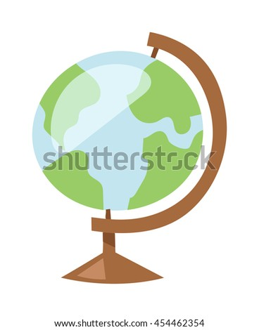 Globe earth icon planet map symbol vector illustration. Education globe toy icon and graphic sphere. Geography element globe icon tool. - stock vector