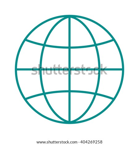 Globe earth icon reflection outline planet map symbol vector illustration. Outline globe icon and globe icon graphic sphere pictogram. Geography element internet globe icon network modern orbit. - stock vector