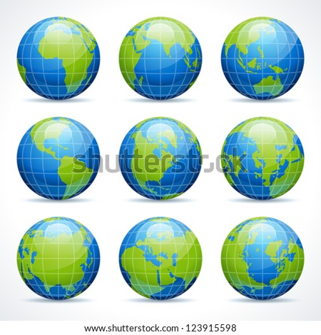 Globe earth icon set vector design elements - stock vector