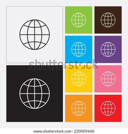 Globe earth icon - Vector - stock vector
