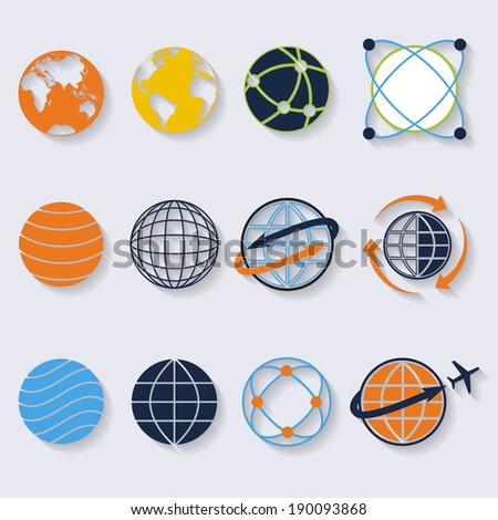 Globe earth icons.Credit : NASA - stock vector
