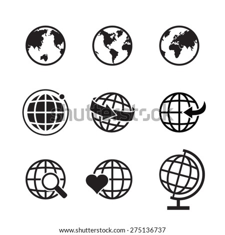 Globe earth icons set, Globe Vector illustrator design for mobile application