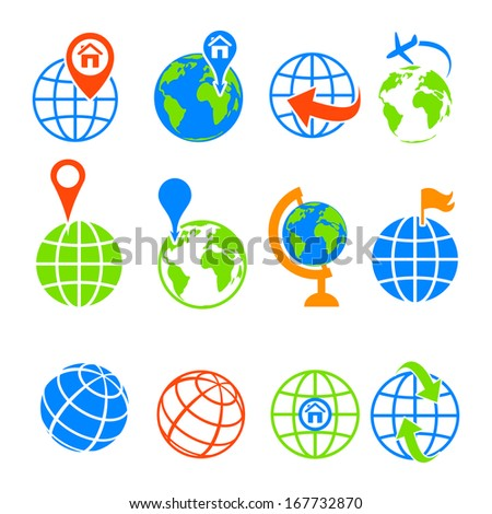 Globe earth icons set isolated on white. Vector illustration. - stock vector
