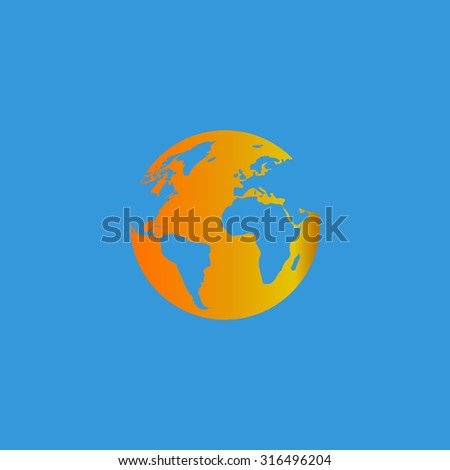 Globe earth. Orange vector icon isolated on blue background. Illustration trend symbol - stock vector