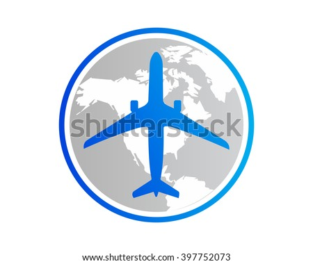 Globe Earth Plane Airport Flight Airline Stock Vector 397752073
