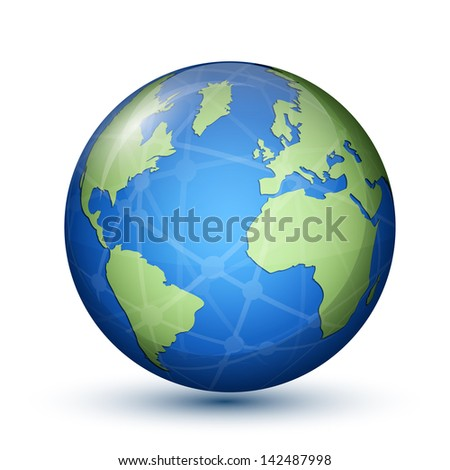 Globe. Earth. Planet. Global communication concept. Vector illustration