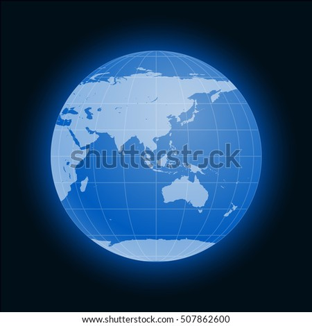Globe Earth symbol flat icon isolated on black background. Europe, Asia, Africa, Australia, Antarctica, Arctic. Vector illustration