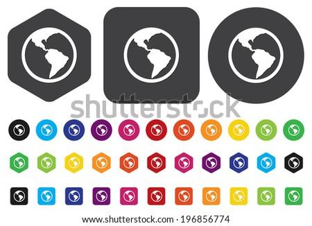 Globe earth vector icon - stock vector