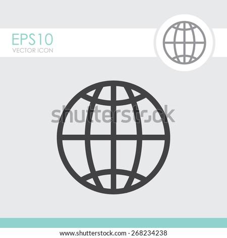 Globe earth vector icon. - stock vector