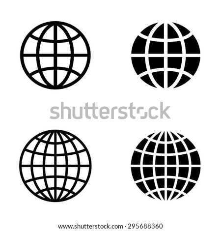 Globe earth vector icon set