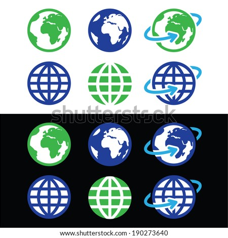 Globe earth vector icons in color - stock vector
