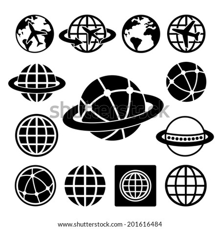 Globe earth vector icons set   - stock vector