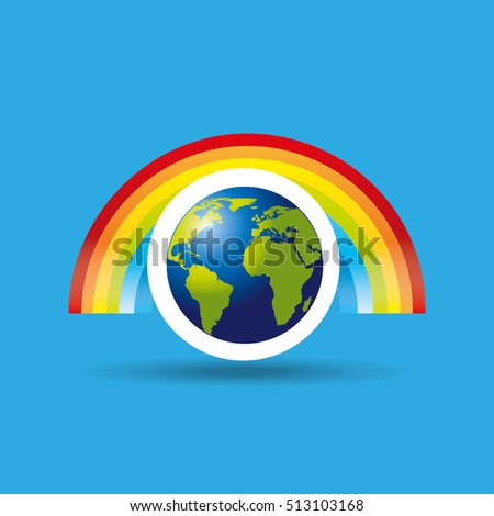 globe earth weather meteorology rainbow vector illustration eps 10