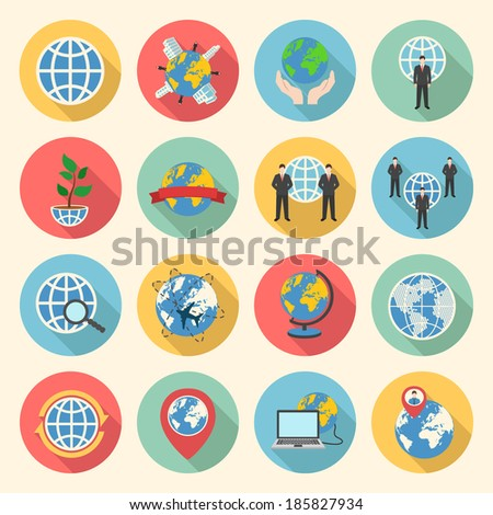 globe earth web colorful flat design icons set. template elements for web and mobile applications - stock vector